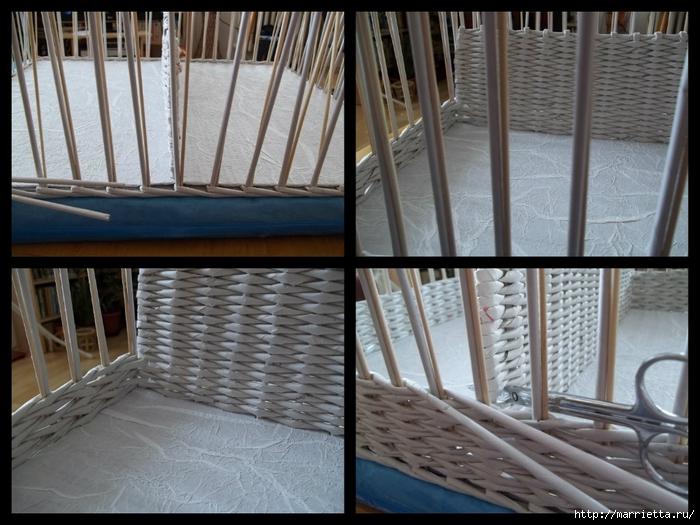 Плетение из газет. Корзинка с перегородкой. Фото мастер-класс (8) (700x525, 279Kb)