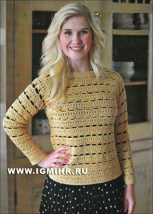 Ажурный пуловер с круглой горловиной и застежкой на плече. Крючок