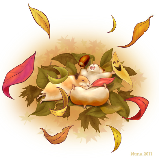 2454993_hamsters_with_autumn_leaves_by_nunungo (550x550, 117Kb)