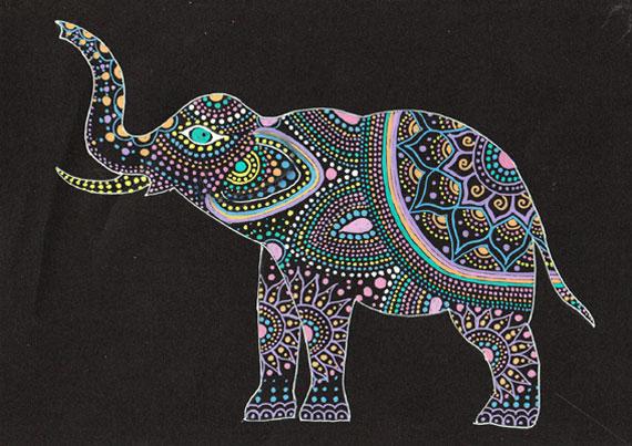 Трафарет для точечной росписи слон