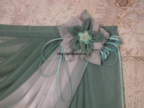 Как сшить цветок из ткани для ламбрекен