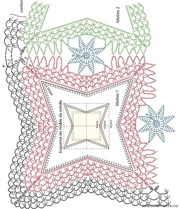 Скатерть и обвязка края крючком. Схемы (6) (605x700, 429Kb)