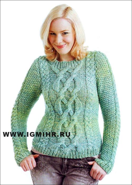 Теплый пуловер с рельефным узором, от финских дизайнеров. Спицы