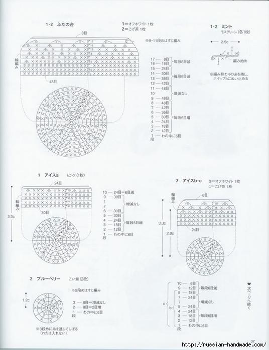 Вяжем крючком пирожные с десертом. Японская книжка со схемами (39) (536x700, 190Kb)