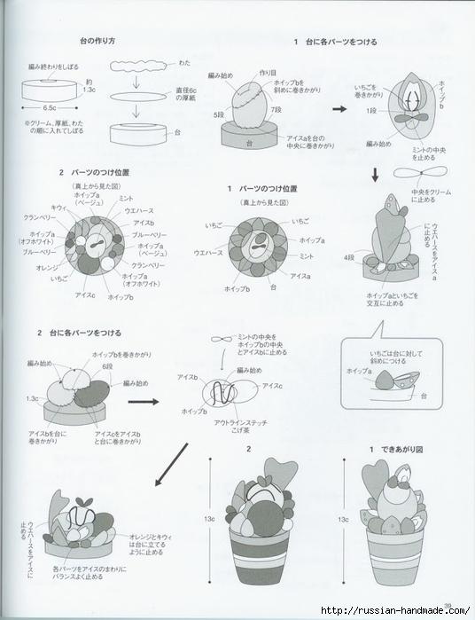 Вяжем крючком пирожные с десертом. Японская книжка со схемами (41) (536x700, 186Kb)