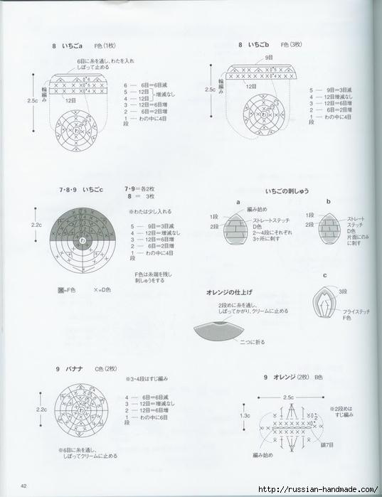 Вяжем крючком пирожные с десертом. Японская книжка со схемами (44) (537x700, 160Kb)