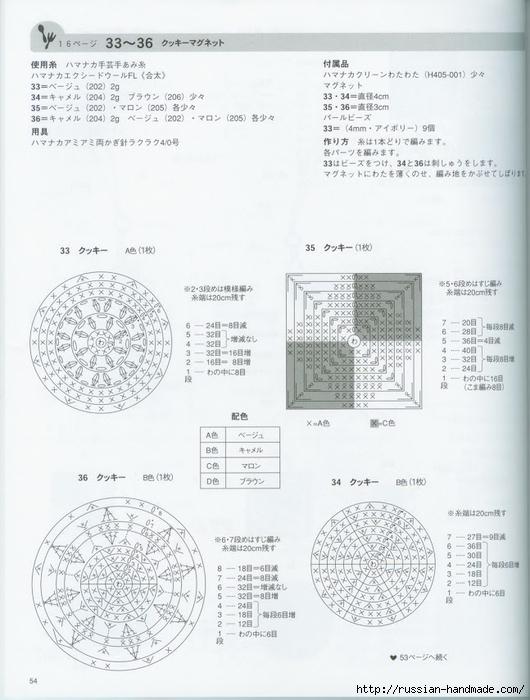 Вяжем крючком пирожные с десертом. Японская книжка со схемами (56) (530x700, 211Kb)