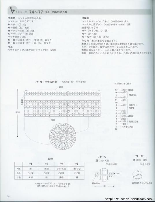 Вяжем крючком пирожные с десертом. Японская книжка со схемами (76) (537x700, 185Kb)