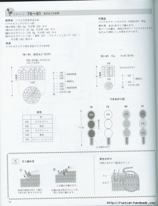 Вяжем крючком пирожные с десертом. Японская книжка со схемами (80) (537x700, 192Kb)