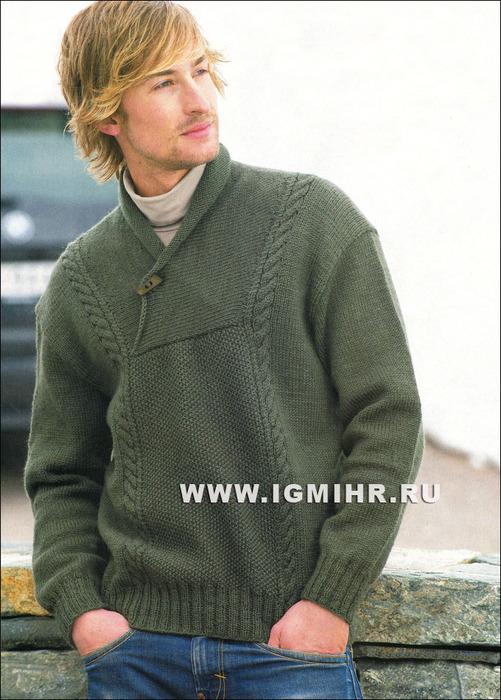 Теплый мужской пуловер цвета хаки, от финских дизайнеров. Спицы