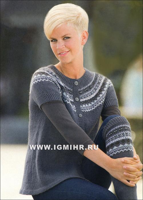Жакет с круглой жаккардовой кокеткой, от финских дизайнеров. Спицы