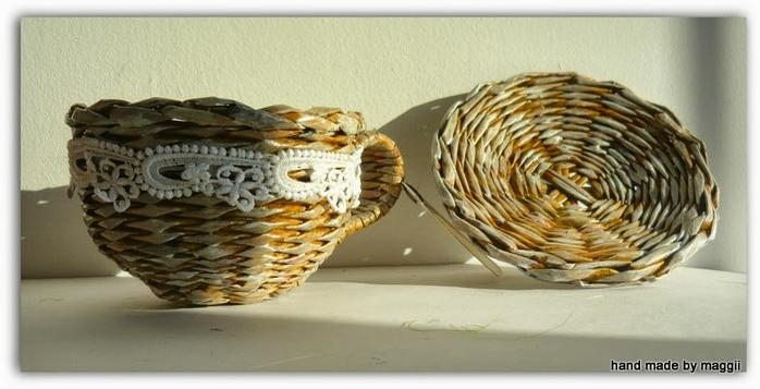 Чайные пары из газетных трубочек. Плетение из газет (7) (700x357, 173Kb)