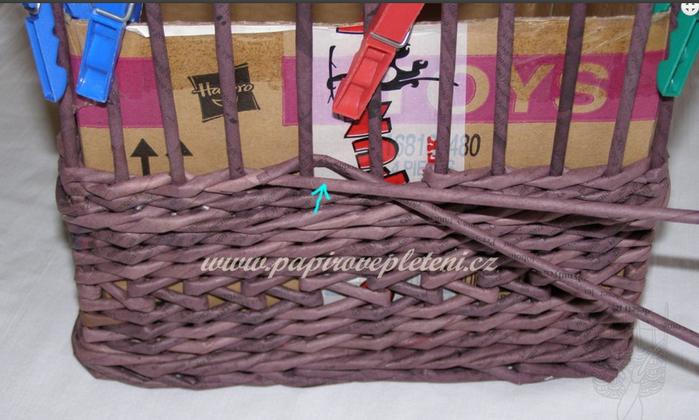 Плетение из газет. Мастер-класс по плетению скошенного верха корзинки (3) (700x420, 477Kb)