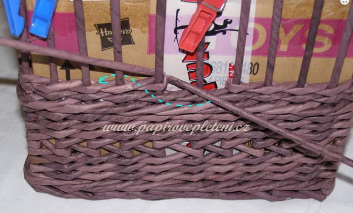 Плетение из газет. Мастер-класс по плетению скошенного верха корзинки (4) (700x422, 499Kb)