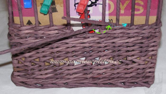 Плетение из газет. Мастер-класс по плетению скошенного верха корзинки (10) (700x400, 483Kb)