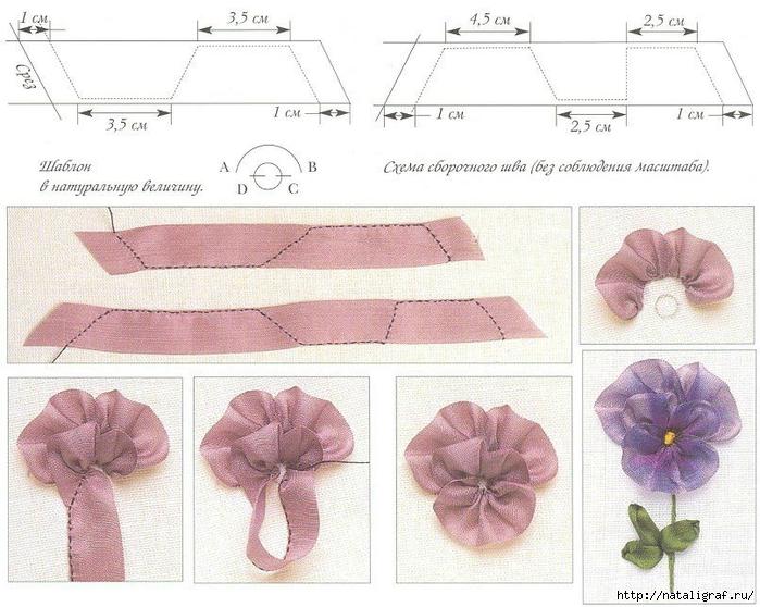 Вышивка атласными лентами и схемы