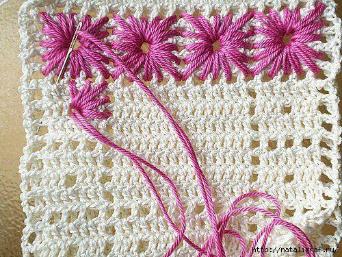 И вышивка на вязаном полотне