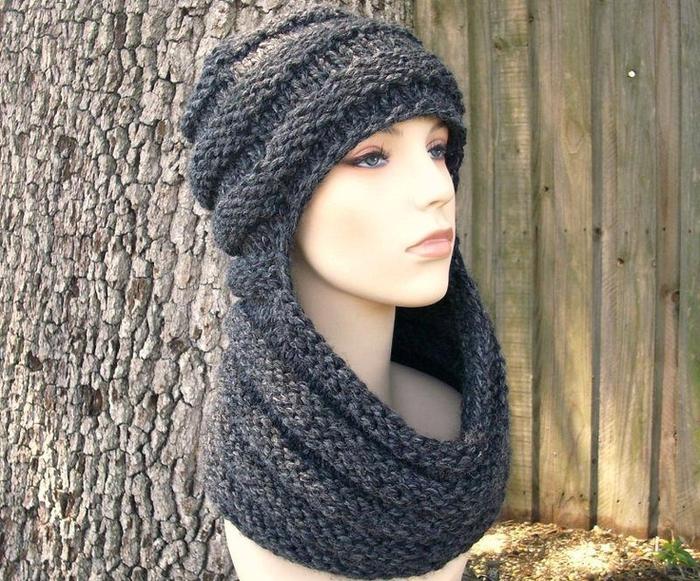 Вязаные шапочки и шарфы своими руками 56