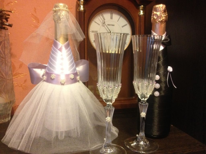 Свадебные бутылки и бокалы своими руками мастер класс