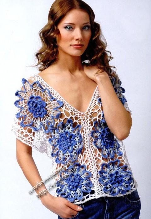 Размер кофточки: 36/38.  Для вязания вам потребуется: 110 г белой пряжи Silke FLASH (60%cotton, 40% viscose...