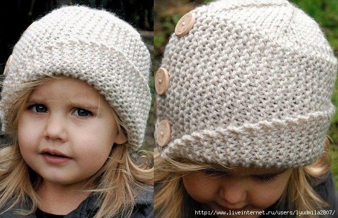 Детская шапочка с отворотом спицами