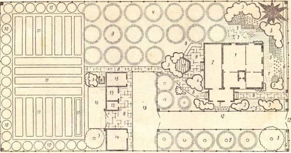1 - дом...  Рис. 3. Схема двух приусадебных участков (с площадью участков по 0,06 га (20X30 м) при двух...