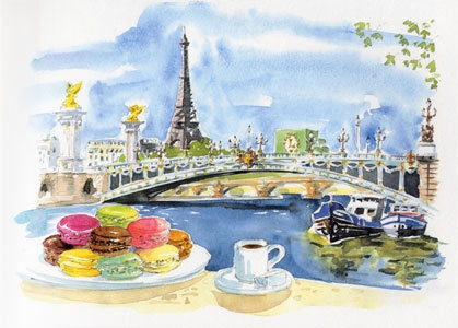 Laduree Gourmet travel book with watercolors (419x300, 95Kb)