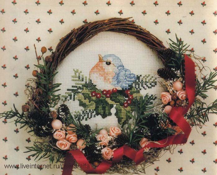 Новогодние птички вышивка