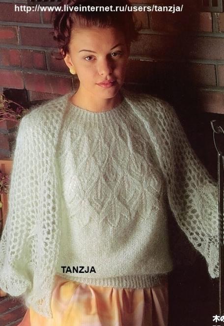<пуловер спицами с круглой