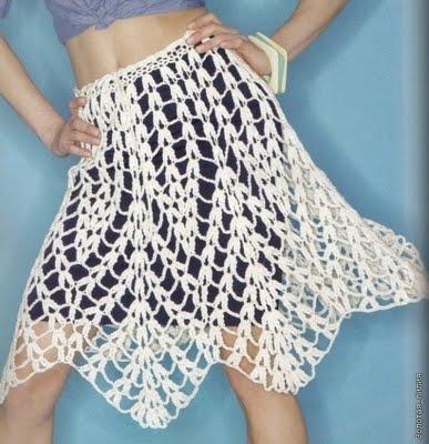 вязание крючком на лето юбку: