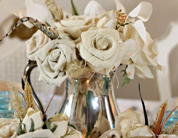 Розы из льна и мешковины. Видео и фото мастер-класс (20) (700x544, 268Kb)