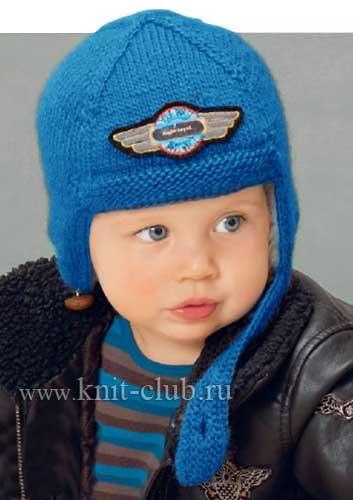 Детская шапка-шлем спицами на