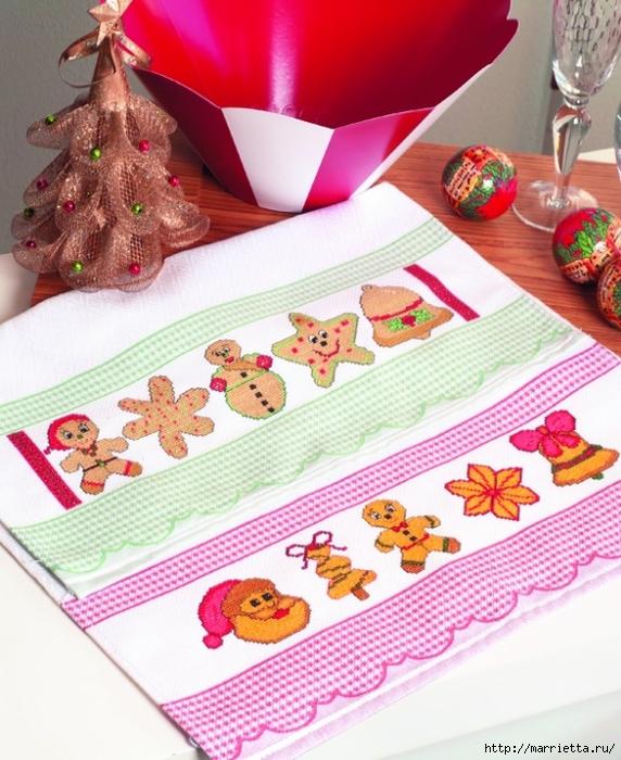 Новогодняя детская вышивка для кухонного полотенца (3) (572x700, 326Kb)