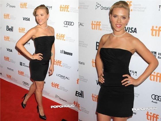Скарлетт Йоханссон в черном платье на кинофестивале