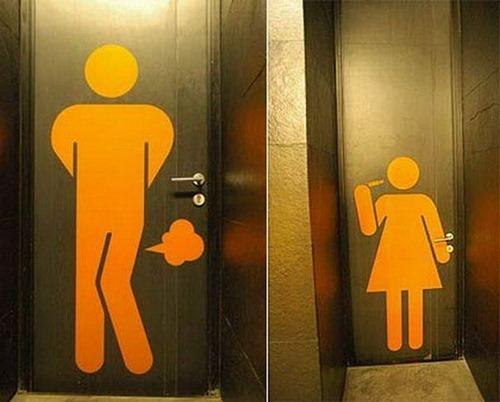 Самые оригинальные туалетные таблички указатели