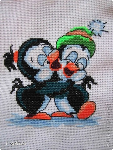 Пингвинчики. Вышивка крестом