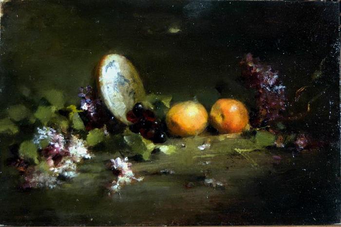 JacquelineKamin-Lilacs-and-Pluets-9x12-Oil-on-Board (700x467, 330Kb)