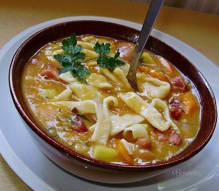Фасолевый суп с лапшой. Фото рецепт (10) (700x610, 376Kb)