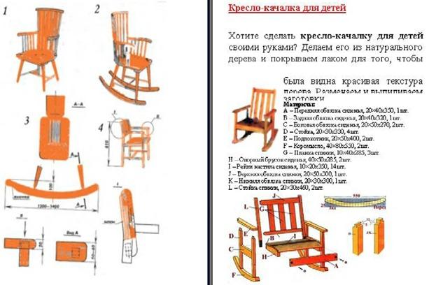 Как сделать кресло качалку чертеж из дерева 9