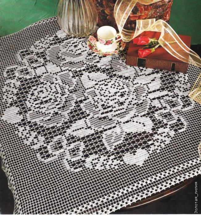 Салфетка в стиле филейного вязания 480