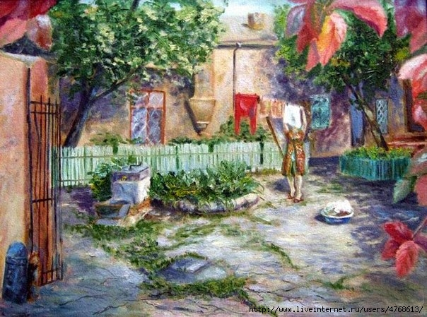 Одесса Юрий Нетрусов. Одесский дворик с тетей Соней netrusov (604x449, 242Kb)