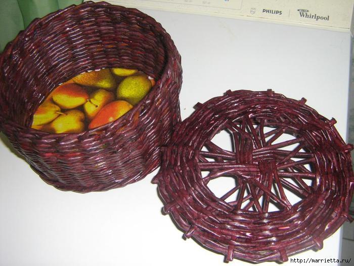 Плетение из газет. Интересный вариант плетния для панно или крышки корзинки (16) (700x525, 189Kb)