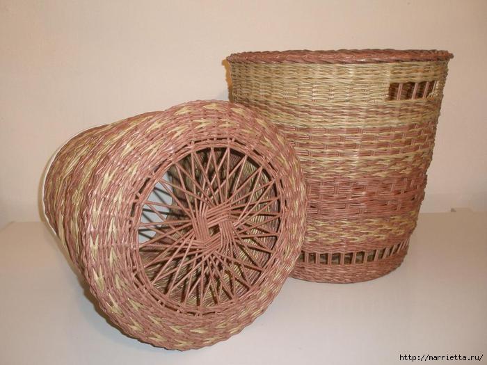 Плетение из газет. Интересный вариант плетния для панно или крышки корзинки (19) (700x525, 160Kb)
