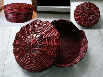 Плетение из газет. Интересный вариант плетния для панно или крышки корзинки (47) (400x300, 93Kb)