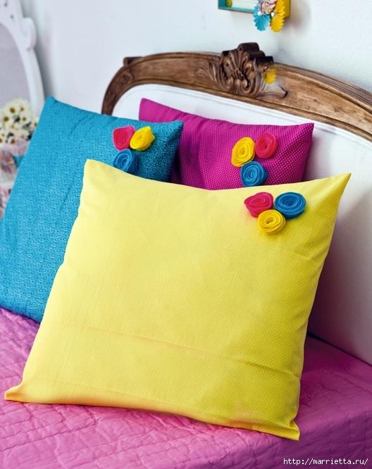Наволочки для подушек с цветочками из фетра. Шьем сами (1) (528x666, 218Kb)