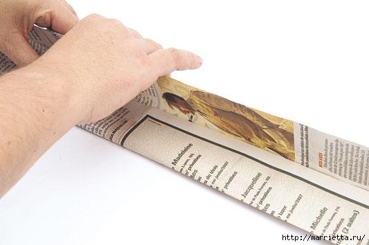 Плетение из газетных полосок. Вазочка для сухоцветов (3) (533x354, 79Kb)
