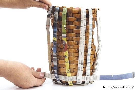 Плетение из газетных полосок. Вазочка для сухоцветов (11) (533x354, 94Kb)