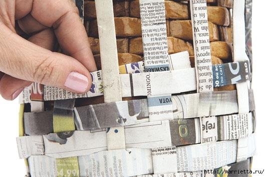 Плетение из газетных полосок. Вазочка для сухоцветов (13) (533x354, 141Kb)