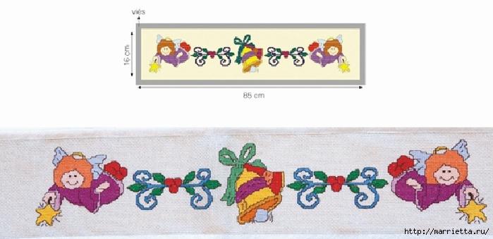 Рождественская вышивка для скатерти и полотенца. Схемы (1) (700x339, 142Kb)