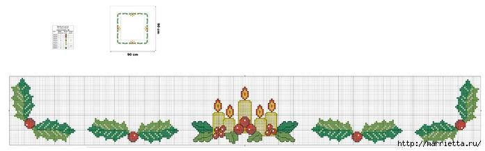 Рождественская вышивка для скатерти и полотенца. Схемы (5) (700x217, 77Kb)